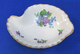 Lefton China Spring Bouquet Bowl Jewelry Dish Purple Flowers White Vintage - $13.16