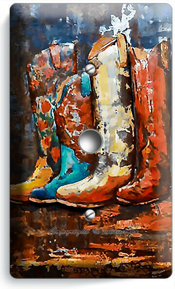 TEXAS COUNTRY WESTERN RUSTIC COWBOY BOOTS LIGHT DIMMER CABLE WALL PLATE HD DECOR
