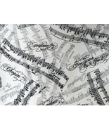 1/2 yd music notes/Chopin/Nocturne on white quilt fabric-free shipping - $8.99