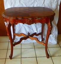 Carved Mahogany Inlaid Parlor Table / Entry Table  (T114) - $449.00