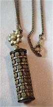 Vintage Unsigned Floral Barrel Pendant on Chain Marked 1/10 12KT GF - $39.95