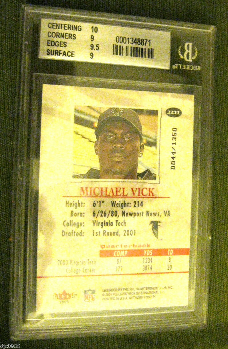 Michael Vick RC 2001 Fleer Authority ROOKIE Beckett Graded BGS 9-Falcons RC QB image 2