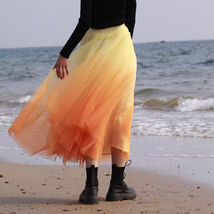 Women Dye Yellow Full Tulle Skirt High Waist Tie Dye Tulle Skirt Holiday Outfit image 4