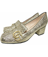 Gucci Gold Leather GG Marmont Pumps 37 Kiltie-Fringed Block Heel GG logo... - $379.99