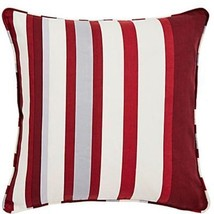 "Printed Vertical Stripe Red Grey Cream Piped 18"" - 45CM Cushion Cover - $7.50"