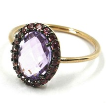 18K ROSE GOLD FLOWER RING PURPLE CUSHION OVAL CRYSTAL, CUBIC ZIRCONIA FRAME image 2