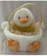 Walmart Plush White Duck Easter Basket Candy Bucket Pail Polka dot Lined Ruffles - $12.99