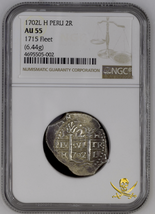 """PERU 2 REALES 1702 """"1715 PLATE FLEET SHIPWRECK"""" NGC 55 PIRATE GOLD COINS... - $2,350.00"""