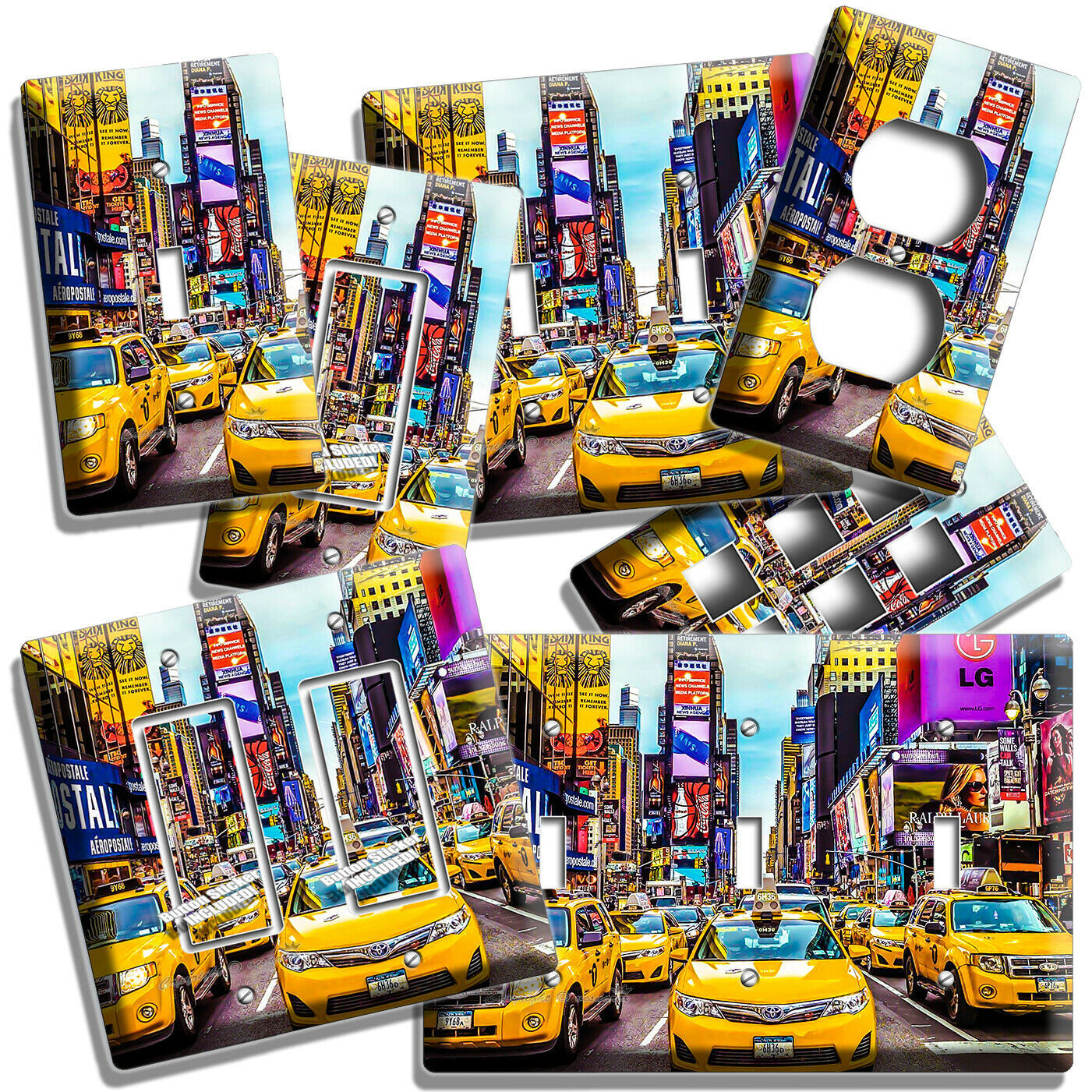 Primary image for NYC NEW YORK CITY YELLOW CABS TIMES SQUARE LIGHT SWITCH OUTLET GARAGE WALL PLATE