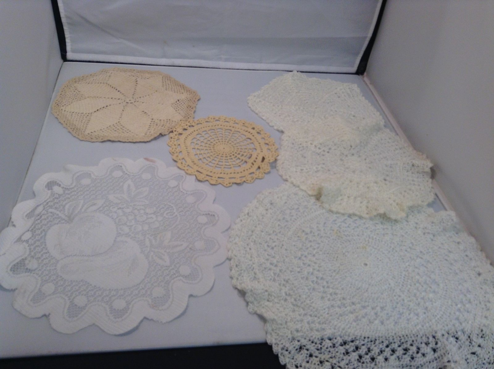 Assorted Antique Knit Doilies Set of 6 Various Sizes