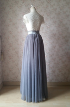Gray Tulle Skirt Outfit High Waisted Long Gray Tulle Skirt Bridesmaid Skirt image 5