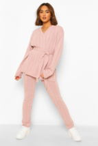 Knitted Belted Top And Trouser Set - $72.50