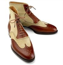New Handmade Oxford Ankle Boot Pure Beige Suede & Dark Tan Leather Ankle... - $149.99+