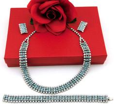 White Milk Glass & Light Blue Rhinstone Vintage Necklace Bracelet Earrin... - $79.95