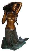 """Mermaid Holding a Shell Bronze statue/fountain -  Size: 26""""L x 18""""W x 36""""H. - $2,299.00"""