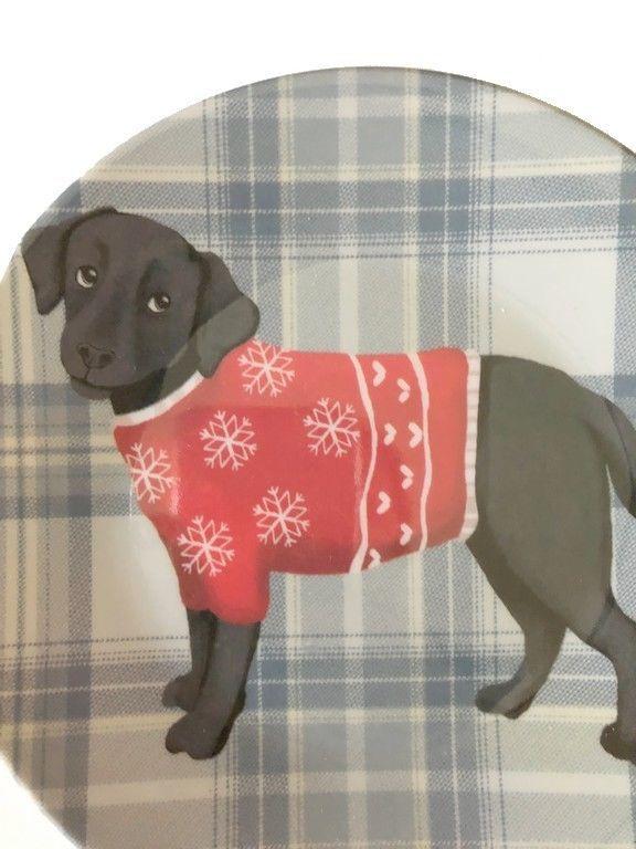"Black Lab Dog Appetizer Tidbit Christmas Paid Melamine Plates 6"" set of 4"
