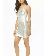 Forever 21 Shiny Liquid Silver Metallic Cami Mini Dress L NEW - $11.34