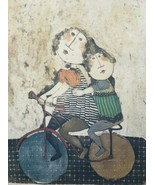 Vintage Signed GRACIELA RODO BOULANGER Girls on Bicycle Lithograph Art P... - $587.99