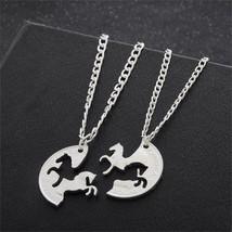 2pcs Bijuteria Horse Pendant Couple Necklace,Pendants for friends Americ... - $5.52