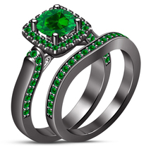 Green Sapphire Black Gold 925 Sterling Silver Bridal Engagement Wedding ... - $85.13