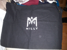 "Huge MILLY Black Flannel Drawstring  Dust Bag Cover Travel  Bag  21x16"" - $7.91"