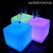 "NEW! LED COLOR CUBE OTTOMAN/STOOL/END TABLE - 16"" LIGHT CHAIR - GLOWING BOX - $98.95"