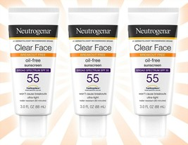3 Neutrogena Clear Face Liquid Lotion Sunscreen With SPF 55 3 OZ EXP 06/21 - $23.50