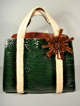 Marc Jacobs Dark Green Croc Printed Patent Leather Handbag  Bag Purse Satchel - $741.27