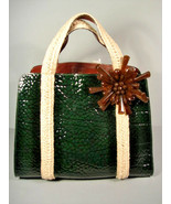 Marc Jacobs Dark Green Croc Printed Patent Leather Handbag  Bag Purse Sa... - $741.27