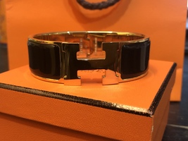 Authentic HERMES Clic Clac Wide Bracelet H BLACK GOLD HW SZ M Bangle