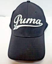 Puma Golf Script Hat Cap Snap Back Curve Bill Black And White Spellout A-Flex - $19.79