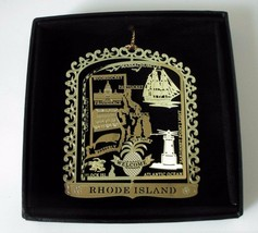 Rhode Island State Landmarks Brass Ornament Black Leatherette Box - $16.00
