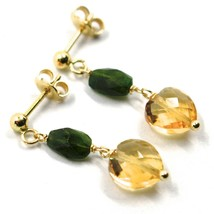 18K YELLOW GOLD PENDANT EARRINGS, HEART CITRINE AND GREEN TOURMALINE 1.0 INCHES image 2