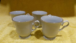 Golden Legacy Cups Mugs White Gold Edge Embossed Lot of 4 free shipping - $39.60