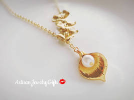 Gold Calla Lily Necklace Orchid Trio Lariat Necklace Christmas Gift Pear... - $36.00