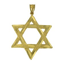 14K Real Yellow Gold Diamond Cut King David Star Charm Pendant - $184.10