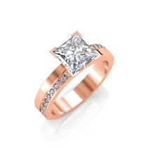 0.68Ct Princess Cut Diamond Claw Set Engagement Ring In 14K Rose Gold - $1,251.36