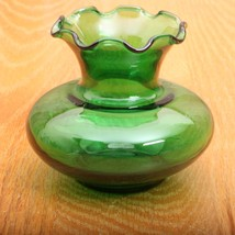 Vintage Green Glass Ruffle Top Vase - $21.49
