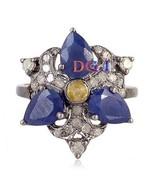 925 Sterling Silver Ring Antique Vintage Rose Cut Diamond Blue Sapphire ... - $144.04