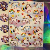 3 Complete Lisa Frank Sticker Sheets Markie The Unicorn S105 S252 S113 RARE LOT image 2
