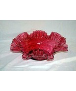 "Fenton Cranberry Ruffled Rim Diamond Optic Console Bowl 13 1/2"" - $31.49"