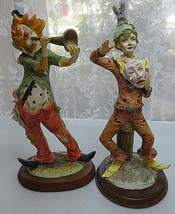 "12"" Resin 2 clown figurine wood base music Deco Collectible Circus  - $50.00"