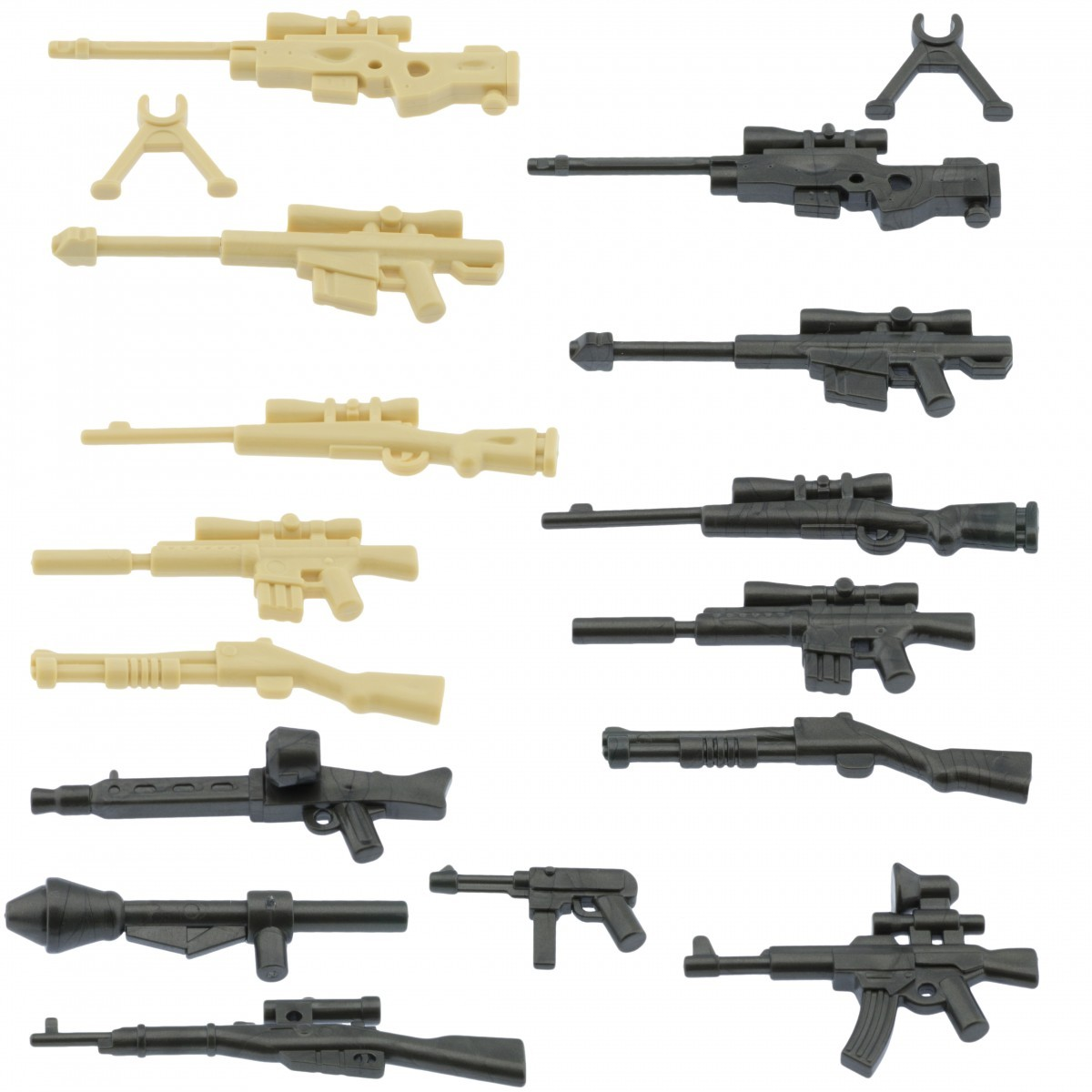 My military guns weapons pack for lego minifigures minifig accessories a silver b tan and silver