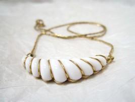 Avon Gatsby Collection Necklace, Art Deco, 1980's, White Crescent Lavali... - $14.00