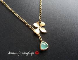 Tiny Mint Gem Necklace Gold Orchid Lariat Necklace Minimalist Necklace V... - $38.00+