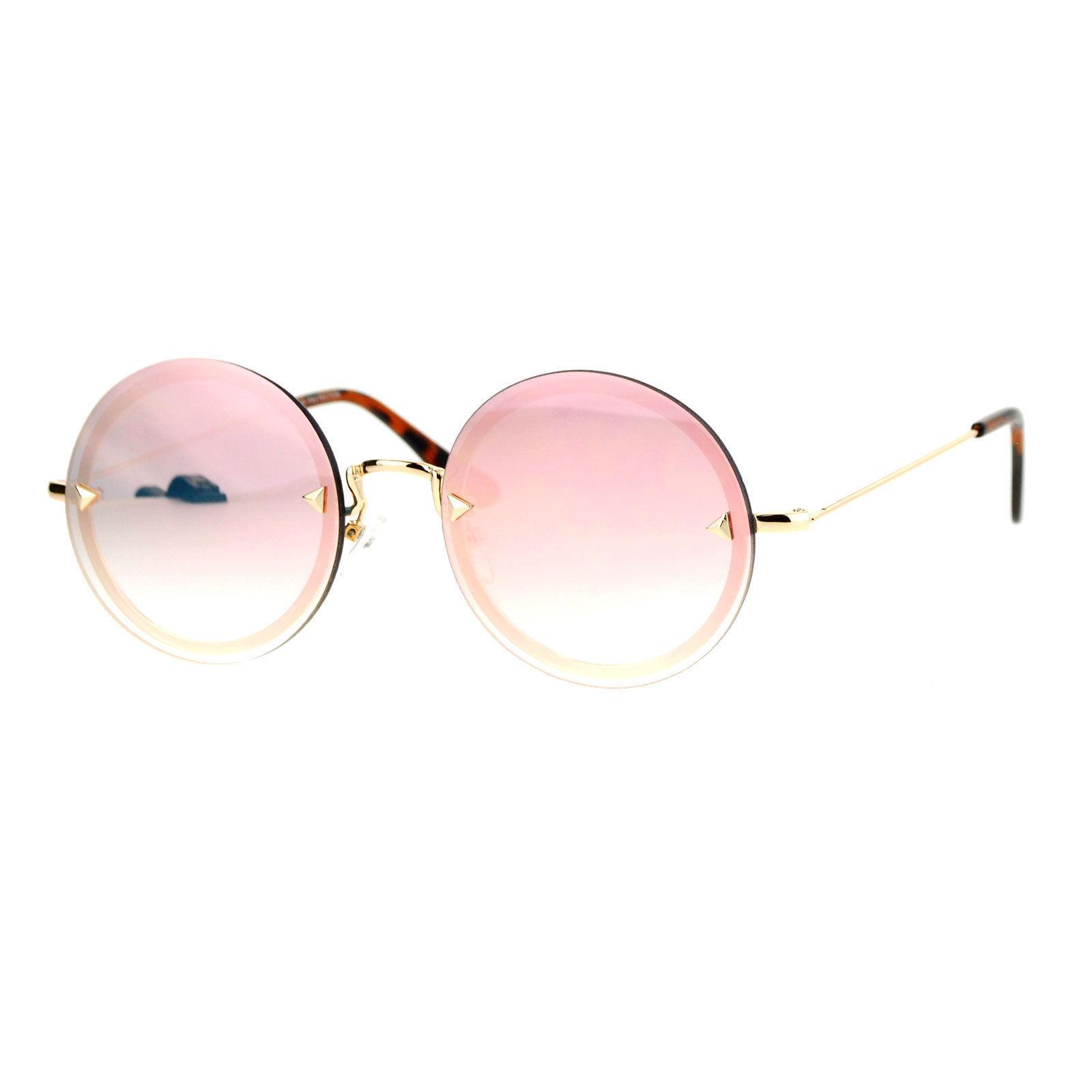 Round Circle Frame Sunglasses Womens Full Mirror Lens Rear Rim Fashion