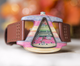 Special Birthday Gift: UD Free Engraved Womens Triangle Color Wood Watch - $59.00