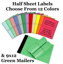 9x12 ( Green ) Poly Mailers + Colored Half Sheet Self Adhesive Shipping ... - $2.99+