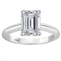 3 Ct Emerald Cut Solitaire Engagement Wedding Ring Solid Real 18K White Gold - £329.21 GBP