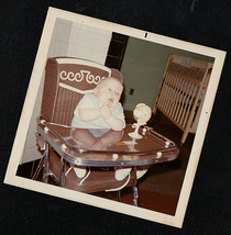 Vintage Photograph Adorable Little Baby Sitting in Highchair - $6.93